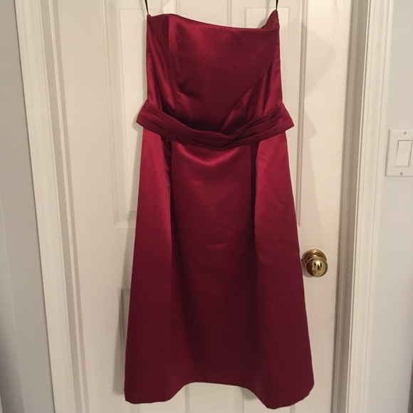 After Six Dresses & Skirts - Burgundy strapless cocktail ball gown bridesmaid